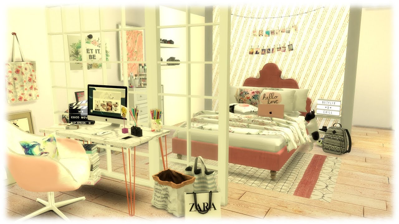 The Sims 4 Speed Build Youtubers Bedroom Youtube