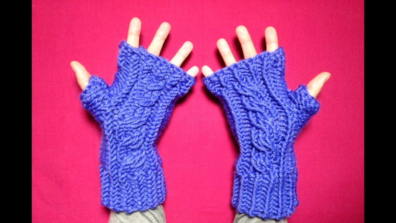Knitting fingerless gloves in the round - How To Loom Knit Cabled Fingerless Mittens Diy Tutorial