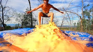 200lbs of Oobleck on a TRAMPOLINE! (fun experiment)