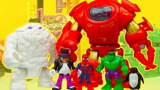 SPIDERMAN & IRON MAN rescue HULK from SNOWMAN & PENGUIN superhero toys