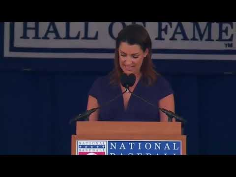 Brandy Halladay gives emotional Hall of Fame induction speech for her late husband Roy Halladay