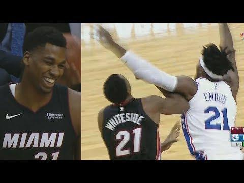 Joel Embiid vs Hassan Whiteside Trash Talking! NBA Preseason 2017 Heat vs 76ers