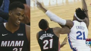 Joel embiid vs hassan whiteside trash talking! nba preseason 2017 heat vs 76ers
