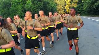 USMA Class of 2021 cadets during their 7.15 mile Run Back