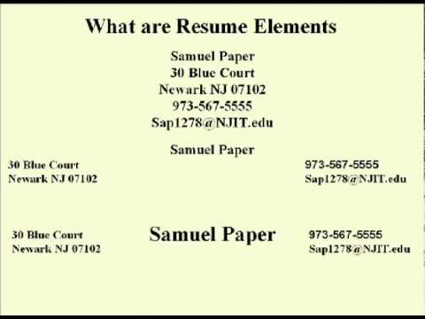 eng 352 technical writing 39 resume elements - Elements Of A Resume