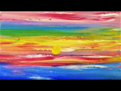 """How To Paint A Sunset With Only Your Fingers 🌅 Abstract Art """"Sunset Serenity"""""""
