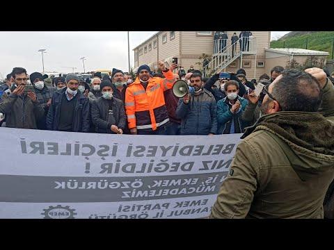 Emek Partisi grevin ikinci gününde Maltepe Belediyesi işçilerini şantiyede ziyaret ediyor