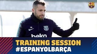 First training session to prepare the derby against Espanyol