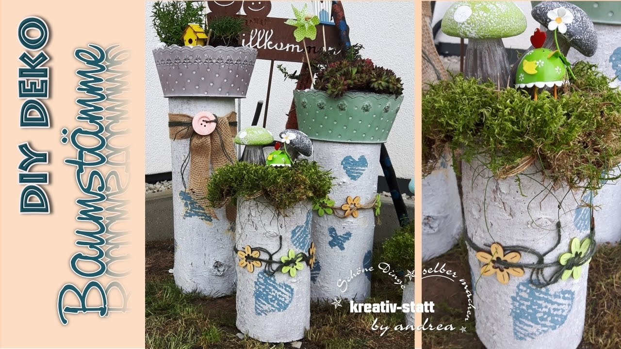 Diy Deco Tree Trunks Vintage Plants Garden How To