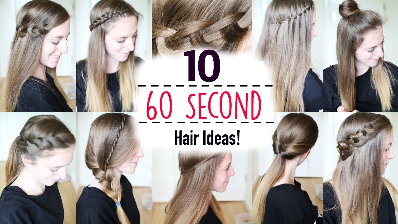 Ten 60 Second Heatless Hairstyles 1 Minute Hairstyles Quick