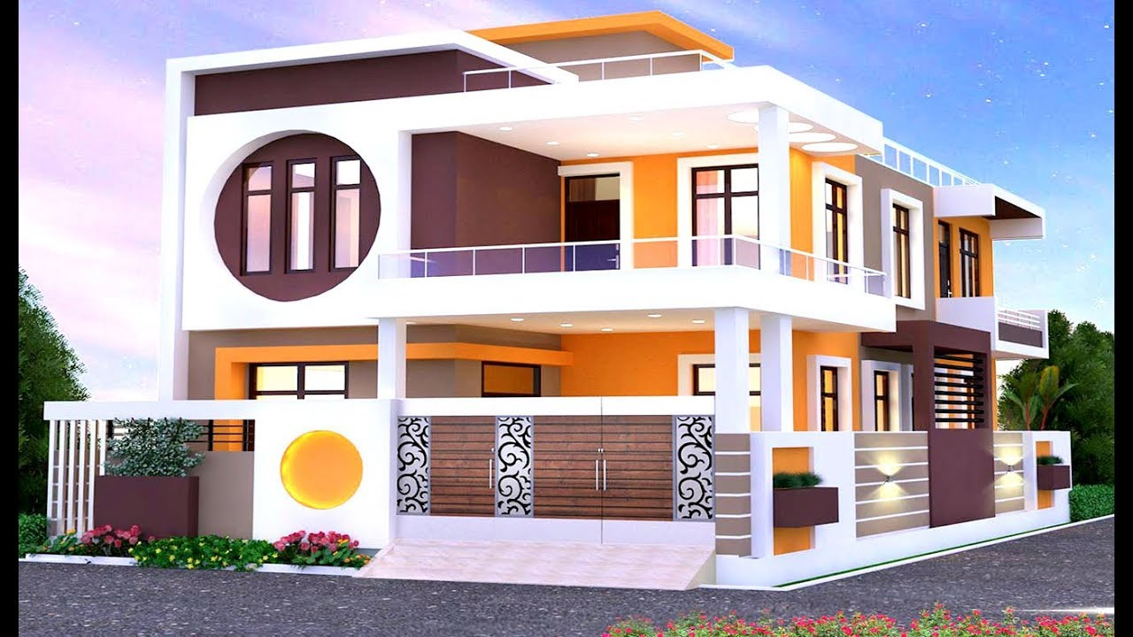 Modern Double Floor House Front Elevation Home Elevation Design 3d