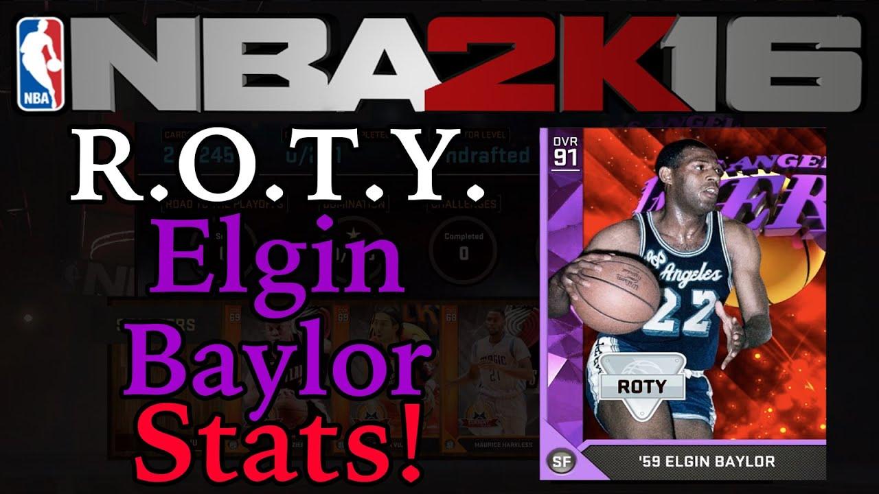 NBA2K16 MyTeam Amethyst Rookie The Year Elgin Baylor Stats