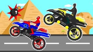 bike racing videos for children by spiderman batman i learn colors cartoon for kids nursery song