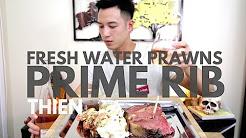 [mukbang with THIEN]: 20 oz. Prime Rib (Medium-Rare) & Grilled Fresh Water Prawns in Garlic Butter