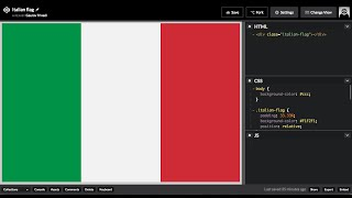 How to Draw the Italian flag in HTML and CSS3. Flag of Italy