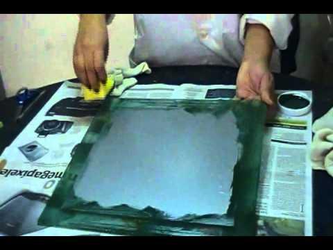 Aplicacion de color en vidrio grabado satinado for Como hacer cuadros con espejos