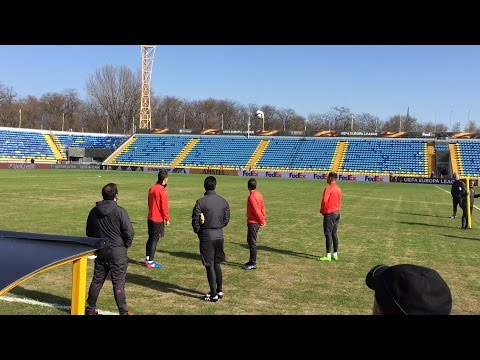FC Rostov v Manchester United - Players Inspect Poor Playing Surface Ahead Of Europa League Match