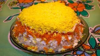 салат Мимоза из консервированной рыбы