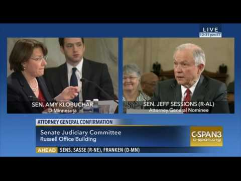 MN Sen Amy Klobuchar Exchange with Sen Session During AG Confirmation Hearings