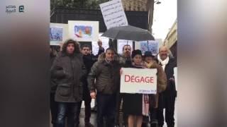 مصر العربية | مظاهرة امام المكتب الحربي لمصر في باريس  ضد التنازل عن  تيران و صنافير