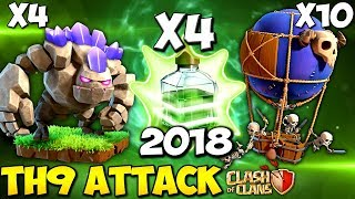 DOUBLE QUADGOLOON: TH9 STRONG WAR ATTACK STRATEGY 2018 | Clash of Clans