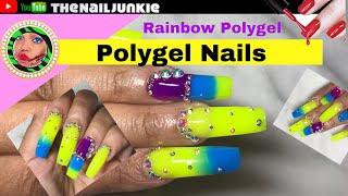 Amazon Prime Rainbow Polygel nails Tutorial |Markartt| Neon Polygel Unboxing review