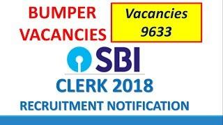 SBI Clerk 2018 Official Recruitment Notification Out !! 9633 JUNIOR ASSOCIATES VACANCIES ! APPLY NOW
