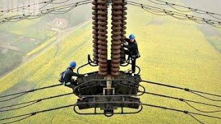 Бесстрашные китайцы: ремонт высоковольтных ЛЭП