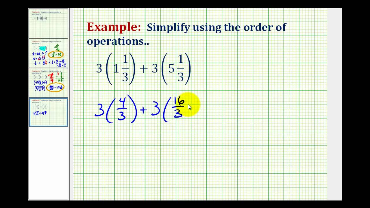 Example 1: Simplifying Expressions Involving Mixed Numbers - YouTube