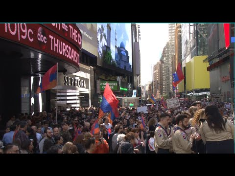 New York, Times Square. 101st anniversary of Armenian Genocide commemoration