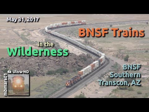 [53][4k] BNSF Trains in the Wilderness, Southern Transcon in Arizona, 05/31/2017 ©mbmars01