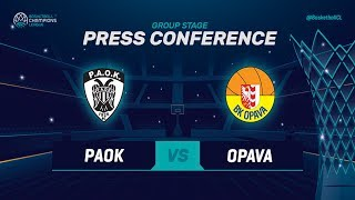 PAOK v Opava - Press Conference - Basketball Champions League 2018-19