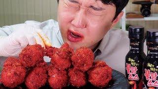 BULDAK SPICY CHICKEN DRUMSTICKS EATING SOUNDS Mukbang 불닭 소스 듬뿍 담군 황금올리브 불닭양념치킨 소리먹방 리얼사운드 ASMR