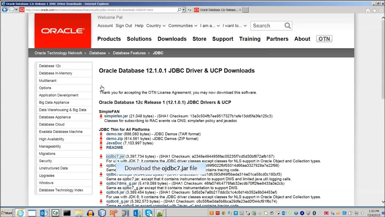Download JDBC Driver for Oracle Database