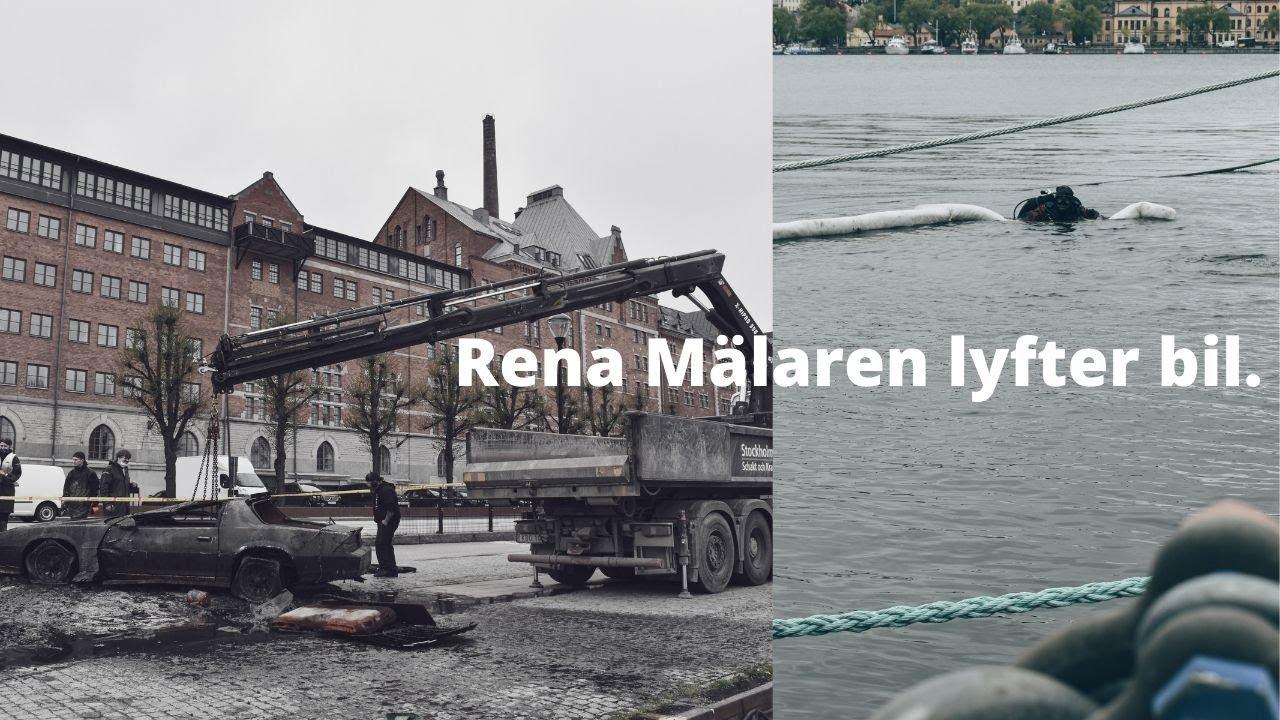 Rena Mälaren lyfter bil på Södermalarstrand i Stockholm