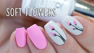 EASY GEL NAILS - Soft Flowers with Indigo Nails Arte Brillante