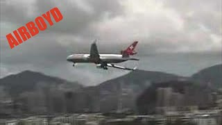 Swissair MD-11 Crosswind Landing Kai Tak Airport (1998)
