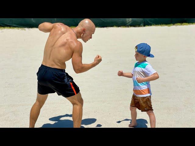 Strongest 4 Year Old Boy versus Bodybuilder. Magic Stone Episode 9