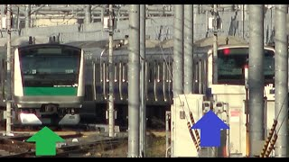相鉄JR直通線の試運転のため埼京線E233系がE531系の隣に停泊している田町車両センター