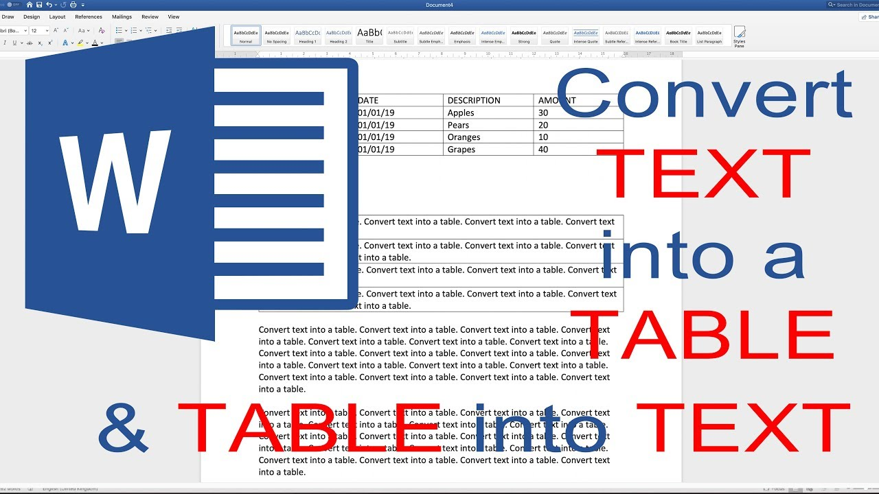 Convert Text To Table In Word 2019 Msword