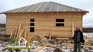 видео Брусовой дом 5х9 с четырех фронтонной крышей