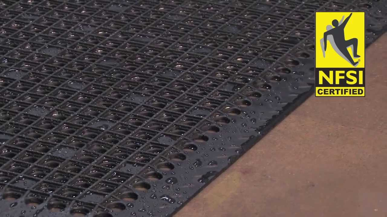 matting yellow rhino drain black kitchen safety drainage floor mat thru k mats