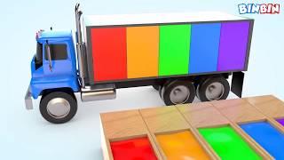 Развивающий мультик про машинку - грузовик и краски. Learn Colors with Cow Transporter Truck