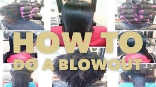 How To DO A DOMINICAN BLOWOUT ON NATURAL HAIR  (Full Tutorial In Salon)