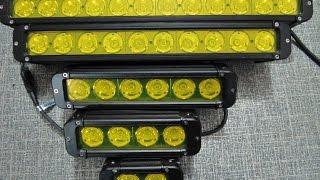 Мощные фары LED желтые с 10 Вт светодиодами -  сравнение . Fog Lights - comparison