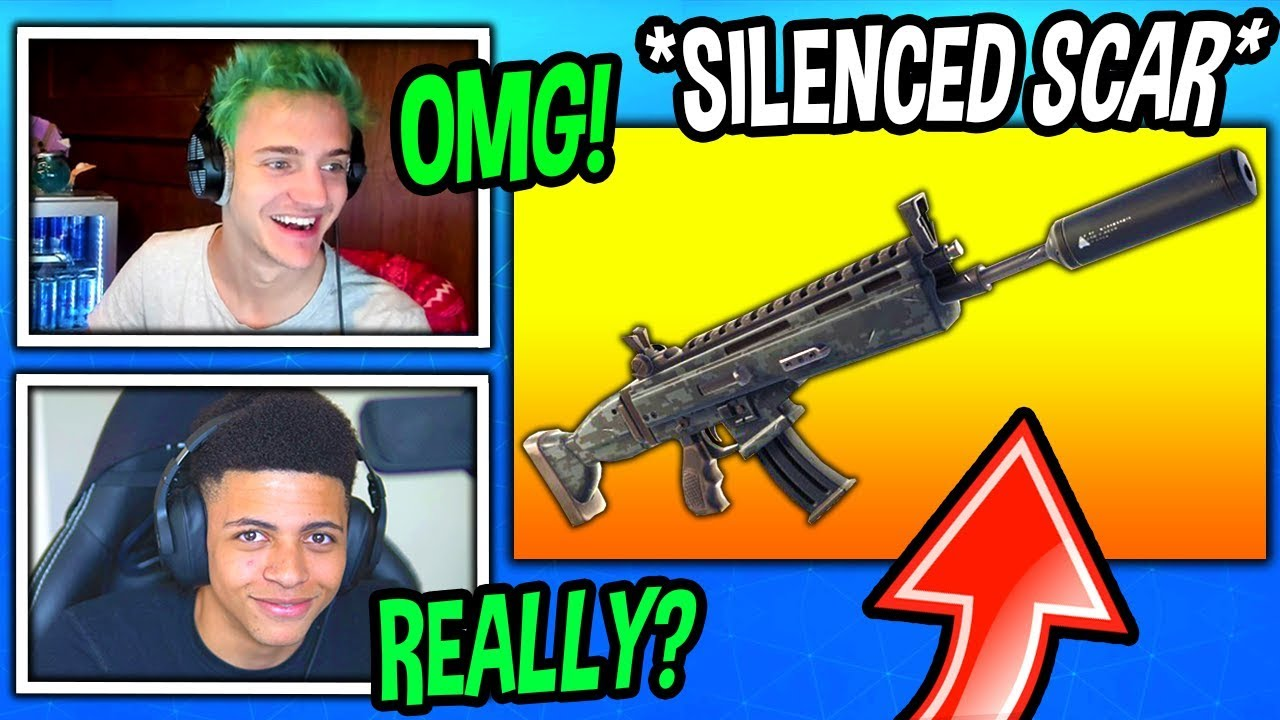 streamers-react-to-new-surpressed-scar-assault-rifle-fortnite-funny-savage-moments