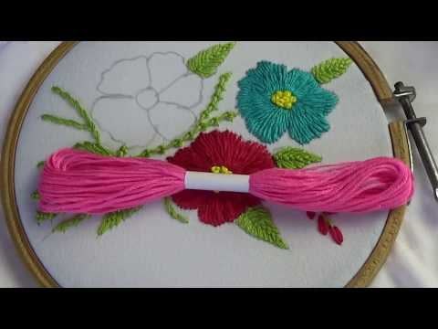 Hand Embroidery  Romanian Stitch Flower Embroidery  Easy Flower Embroidery Design