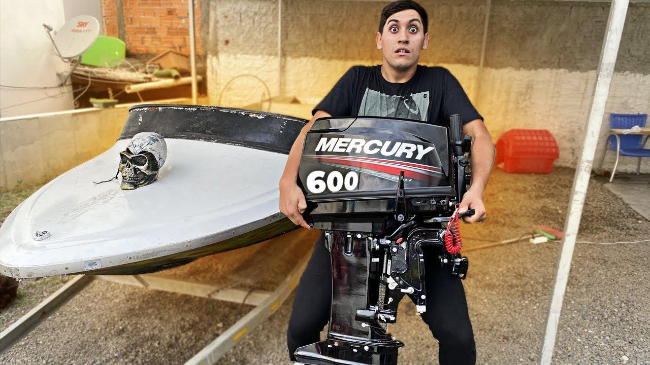 COLOGUEI UM MOTOR DE 600 CILINDRADAS NA MINI LANCHA