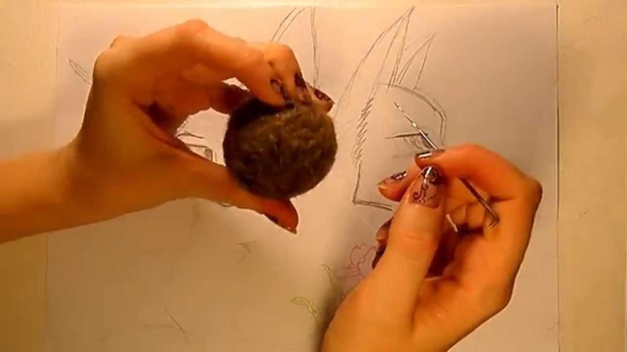 Оброботка сливера, валяние основы для игрушки из шерсти