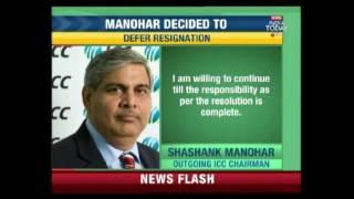 Shashank Manohar Agrees To Defer Resignation thumbnail